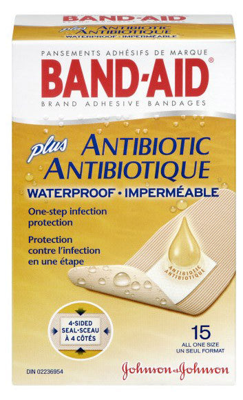 J&J BAND-AID WATERPROOF ANTIBIOTIC 15'S - Queensborough Community Pharmacy