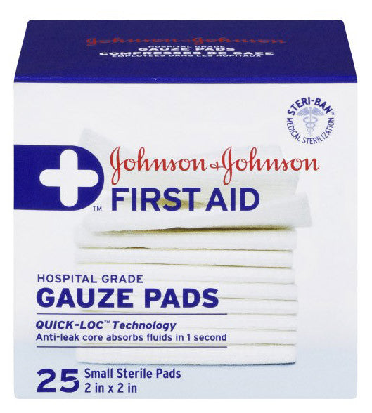 J&J FIRST AID GAUZE PADS 2X2' 25'S - Queensborough Community Pharmacy