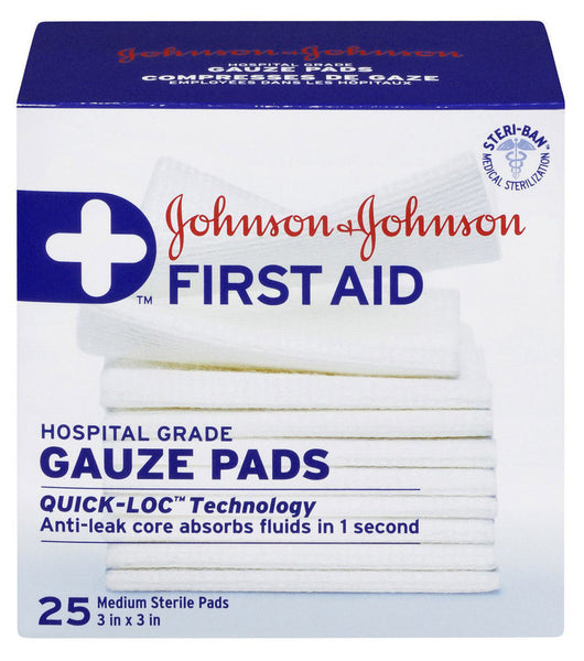 J&J FIRST AID GAUZE PADS 3X3' 25'S - Queensborough Community Pharmacy