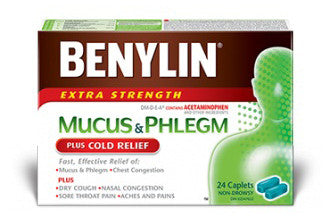 BENYLIN COLD, MUCUS & PHLEGM RELIEFCAPLETS 24'S - Queensborough Community Pharmacy