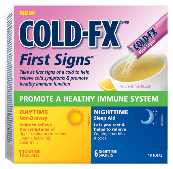 COLD-FX FIRST SIGNS 12 DAYTIME/6 NIGHTTIME SACHETS 18'S - Queensborough Community Pharmacy