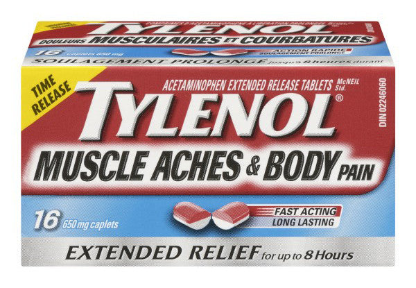 TYLENOL MUSCLE ACHES/BODY PAIN 16'S - Queensborough Community Pharmacy