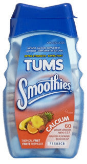 TUMS SMOOTHIES TROP FRUIT X-STR 60'S - Queensborough Community Pharmacy