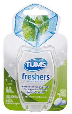 TUMS FRESHERS SPEARMINT TWIN 2X25'S - Queensborough Community Pharmacy