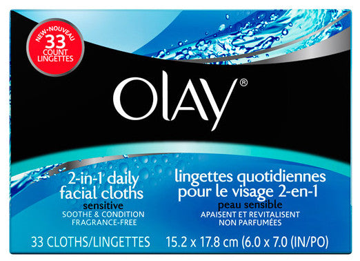 OLAY FACE CLOTHS SENS REFILL 33'S - Queensborough Community Pharmacy