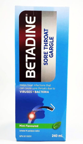 Betadine sore throat gargle : helps treat infections that can cause sore throats due to viruses/bacteria.