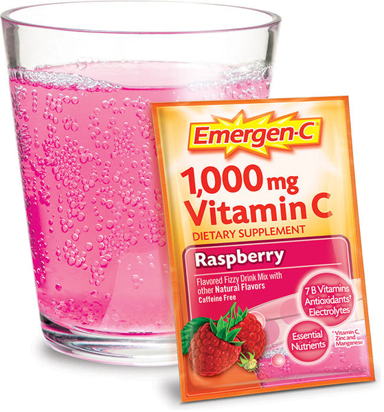 Emergen-C 1000mg Vitamin C Raspberry 30 Packets - Queensborough Community Pharmacy