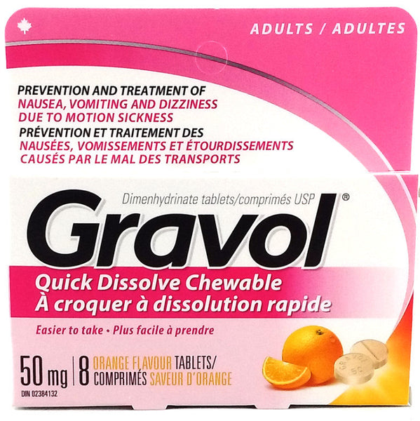 GRAVOL TABS 50MG CHEWABLE 8'S - Queensborough Community Pharmacy