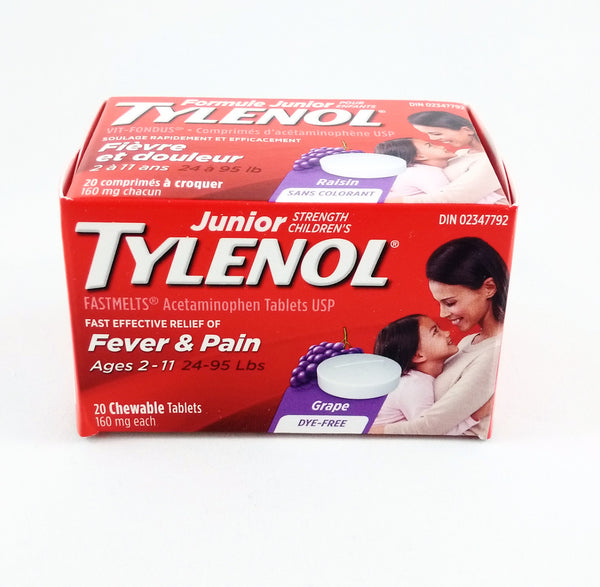 TYLENOL JR FASTMELTS DF GRAPE 20'S - Queensborough Community Pharmacy - 1