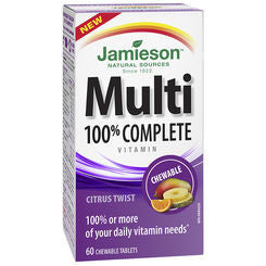 JAMIESON 100% COMPLETE CHEWABLE MULTIVITAMIN TABLETS CITRUS TWIST 60'S - Queensborough Community Pharmacy