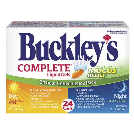 BUCKLEY'S CMPLT DAY & NIGHT LIQ GELS PLUS MUCOUS RELEIF 24'S