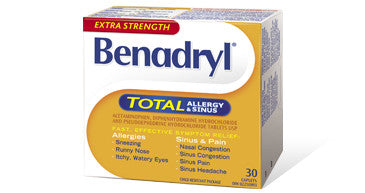 BENADRYL TOTAL ALLERGY & SINUS X-STR TABS 30'S - Queensborough Community Pharmacy