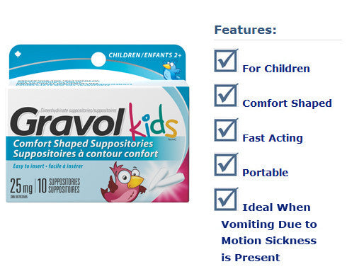GRAVOL SUPP 25MG CHILDREN 10'S - Queensborough Community Pharmacy