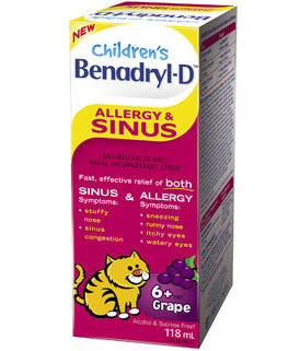 BENADRYL D KIDS ALLERGY+SINUS 118ML - Queensborough Community Pharmacy
