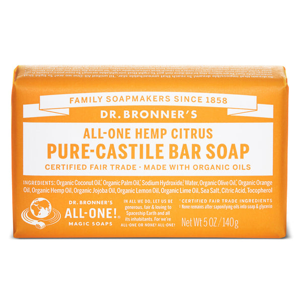 DR BRONNER'S Org Citrus Bar Soap 140g - Queensborough Community Pharmacy