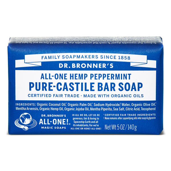 DR BRONNER'S Org Peppermint Bar Soap 140g - Queensborough Community Pharmacy