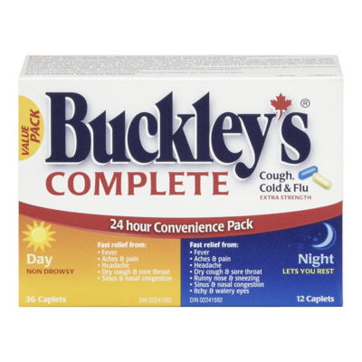 BUCKLEY'S COMPLETE COUGH, COLD & FLU EXTRA STRENGTH - DAY/NIGHT CAPLETS