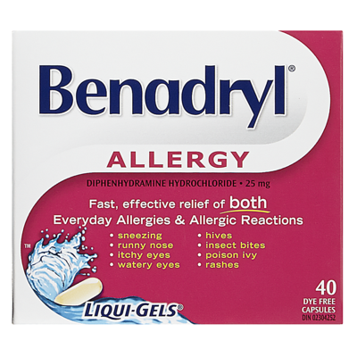 BENADRYL ALLERGY LIQUI-GELS CAPS 40'S - Queensborough Community Pharmacy