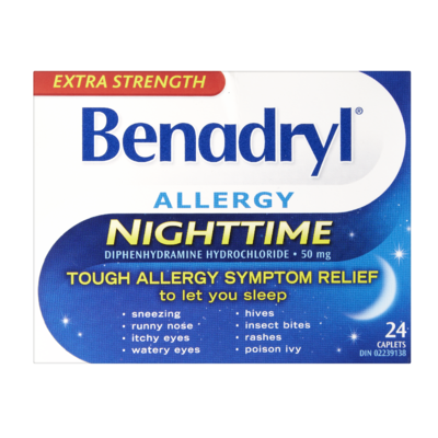 BENADRYL ALLERGY NIGHTTIME X-STR CAPLETS 24'S - Queensborough Community Pharmacy