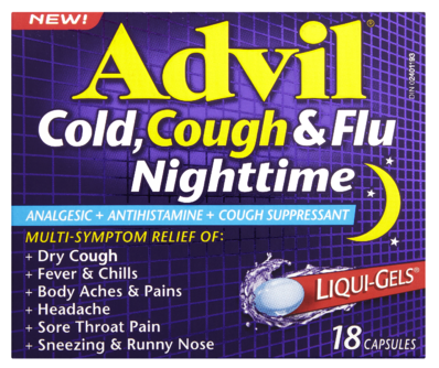 ADVIL COUGH, COLD & FLU NIGHTTIME 18'S - Queensborough Community Pharmacy