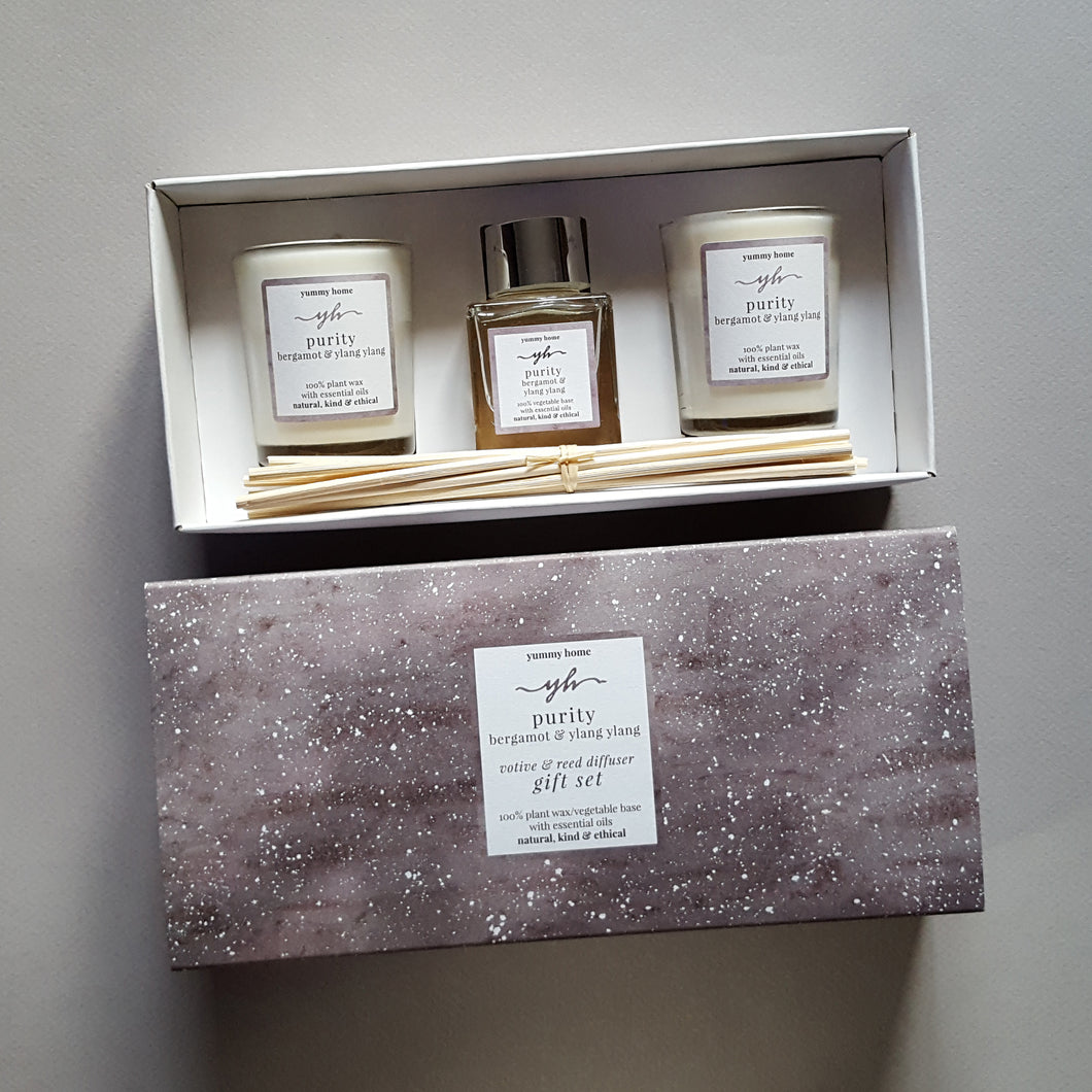 purity votive & reed diffuser gift set