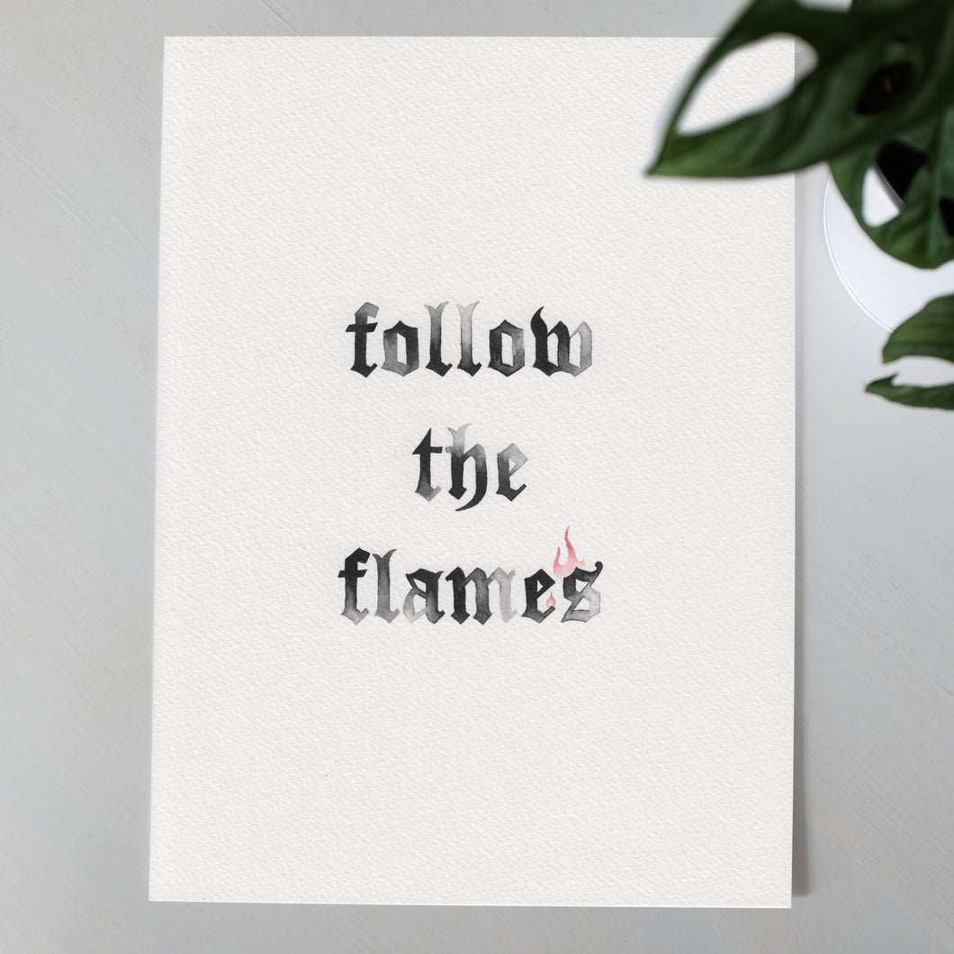 'Follow the Flames' Original A4 Painting