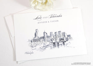 Philadelphia Skyline Wedding Thank You Cards, Personal Note Cards, Bridal Shower Thank you Cards (set of 25 cards)