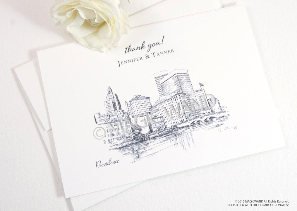 Providence Skyline Wedding Thank You Cards, Personal Note Cards, Bridal Shower Thank you Cards (set of 25 cards)