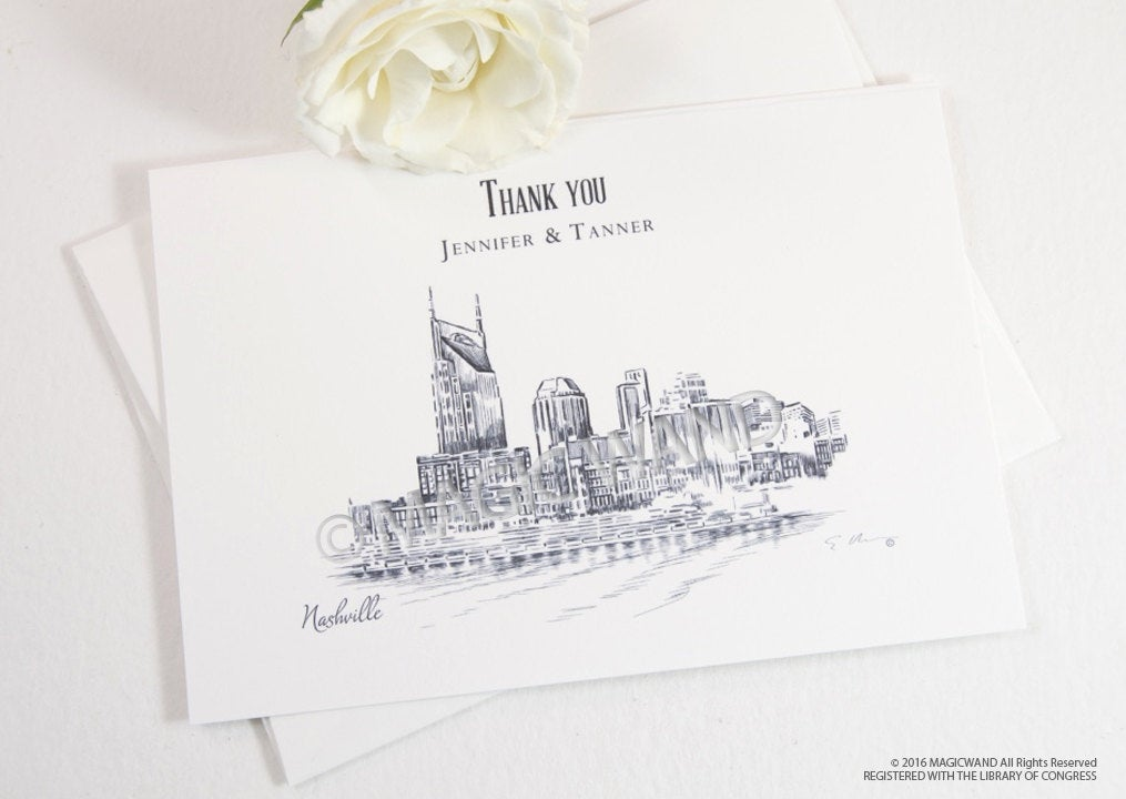 Nashville Skyline Wedding Thank You Cards, Personal Note Cards, Bridal Shower Thank you Cards (set of 25 cards)