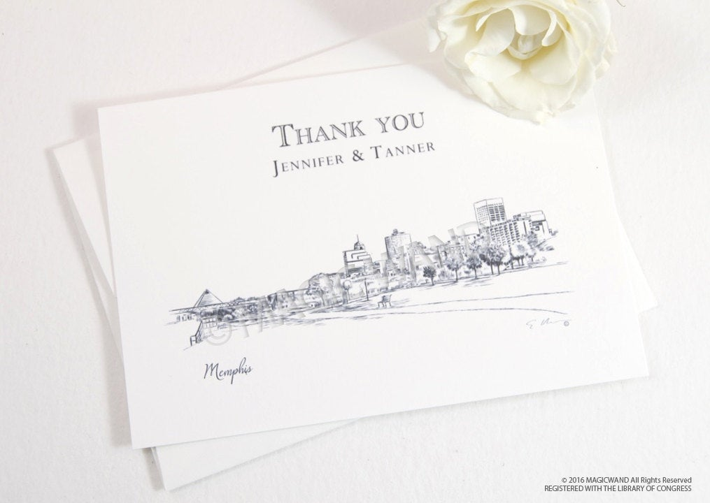 Memphis Skyline Wedding Thank You Cards, Personal Note Cards, Bridal Shower Thank you Cards (set of 25 cards)