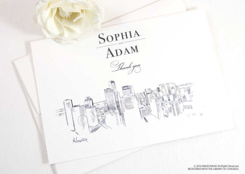 Houston Skyline Wedding Thank You Cards, Personal Note Cards, Bridal Shower Thank you Cards (set of 25 cards)