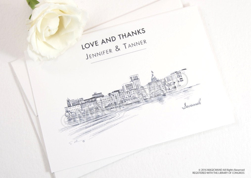 Savannah Skyline Wedding Thank You Cards, Personal Note Cards, Bridal Shower Thank you Cards (set of 25 cards)