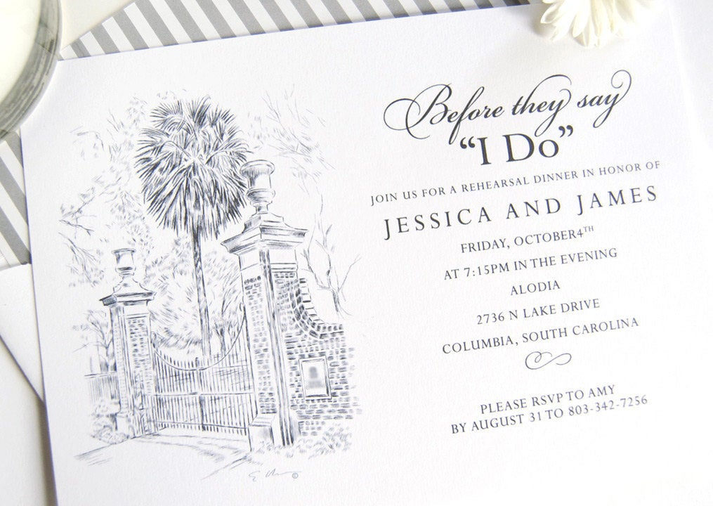 University of South Carolina Skyline Hand Drawn Rehearsal Dinner Invitations (set of 25 cards)