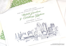 Load image into Gallery viewer, Kansas City Skyline Hand Drawn, Presidents Hotel, Wedding Save the Date Cards (set of 25 cards)