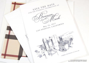 Los Angeles Skyline Hand Drawn Save the Date Cards (set of 25 cards)