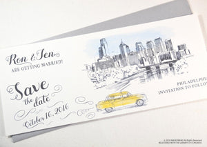 Philadelphia Skyline Whimsical Save the Date Cards , Taxi Watercolor, Wedding (set of 25 cards)