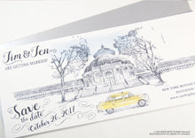 Load image into Gallery viewer, New York Botanical Garden Whimsical Save the Date Cards , Taxi Watercolor, Wedding (set of 25 cards)
