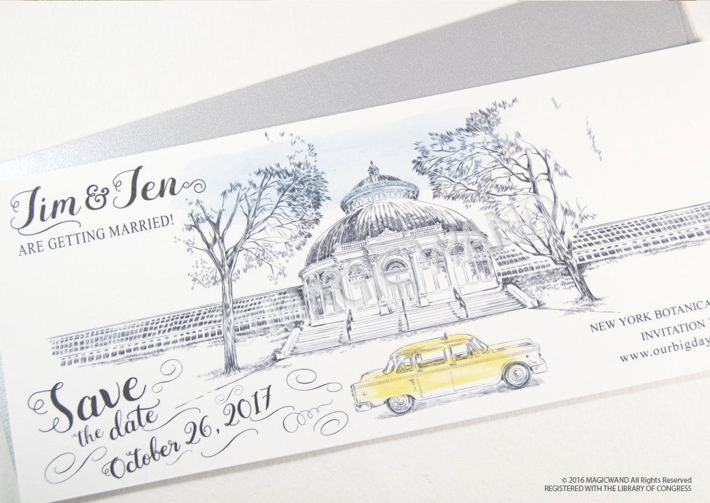 New York Botanical Garden Whimsical Save the Date Cards , Taxi Watercolor, Wedding (set of 25 cards)