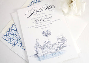 Little Mermaid Fairytale Wedding Inspired Rehearsal Dinner Invitations (set of 25 cards)