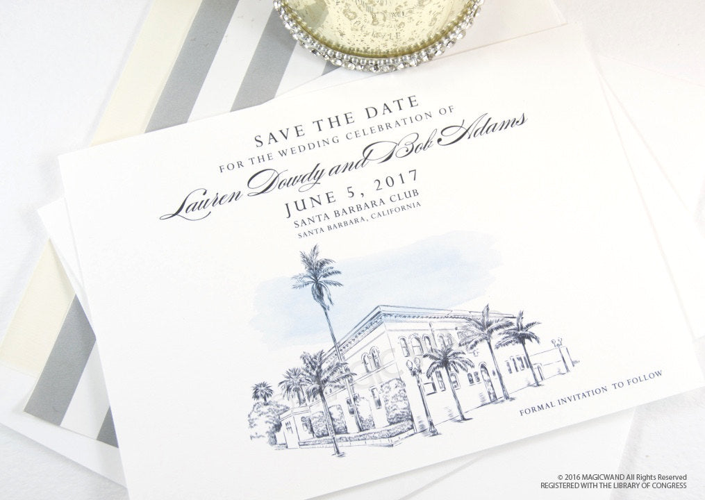 Santa Barbara Club Wedding Save the Date Cards, Venue Save the Dates,  Hand Drawn (set of 25 cards)
