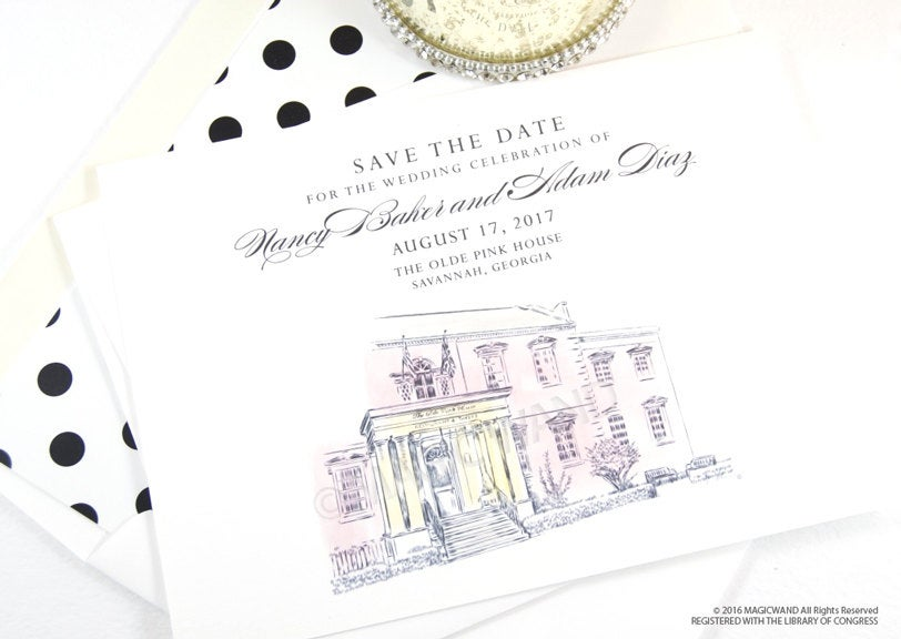 The Olde Pink House Wedding Save the Date Cards, Venue Save the Dates,  Savannah Wedding, Hand Drawn (set of 25 cards)