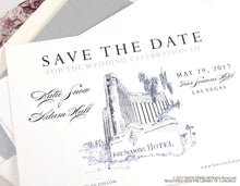 Load image into Gallery viewer, Four Seasons Resort Las Vegas Wedding Save the Date Cards, Save the Dates, Vegas Skyline, Hand Drawn (set of 25 cards and envelopes)