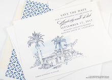 Load image into Gallery viewer, Rancho Valencia Resort, San Diego Wedding Save the Date Cards, Save the Dates, Wedding, Hand Drawn (set of 25 cards)