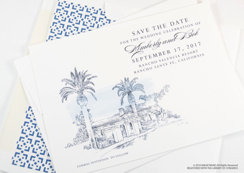 Rancho Valencia Resort, San Diego Wedding Save the Date Cards, Save the Dates, Wedding, Hand Drawn (set of 25 cards)