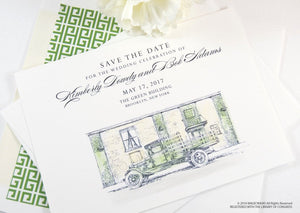 The Green Building, Brooklyn Wedding Save the Date Cards, Save the Dates, Wedding, Hand Drawn (set of 25 cards)