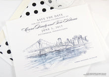 Load image into Gallery viewer, Pittsburgh Wedding Save the Date Cards, Save the Dates, Wedding, Hand Drawn (set of 25 cards)