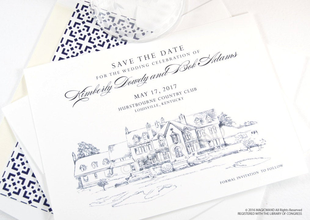 Hurstbourne Country Club, Louisville Kentucky Wedding Save the Date Cards, Save the Dates, Wedding, Hand Drawn (set of 25 cards)