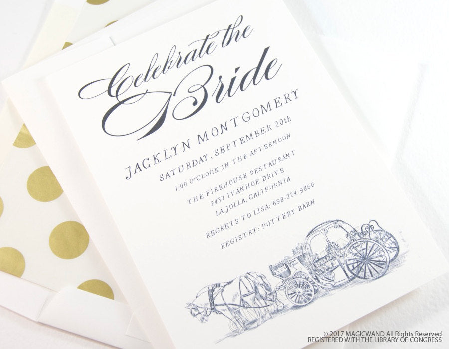 Cinderella's Carriage Bridal Shower Invitations, Fairytale Wedding, Disney, Hand Drawn (set of 25 cards & envelopes)