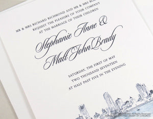 Milwaukee Skyline New Northwestern Building Wedding Invitation Package (Sold in Sets of 10 Invitations, RSVP Cards + Envelopes)