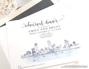 Milwaukee Skyline, Northwestern Building Rehearsal Dinner Invitations (set of 25 cards)